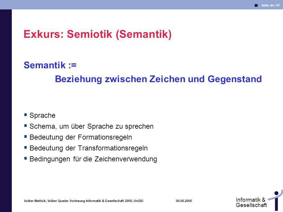 Exkurs: Semiotik (Semantik)