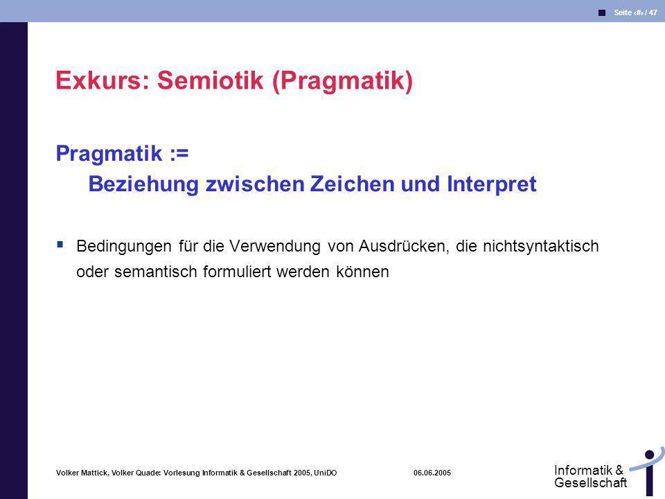 Exkurs: Semiotik (Pragmatik)