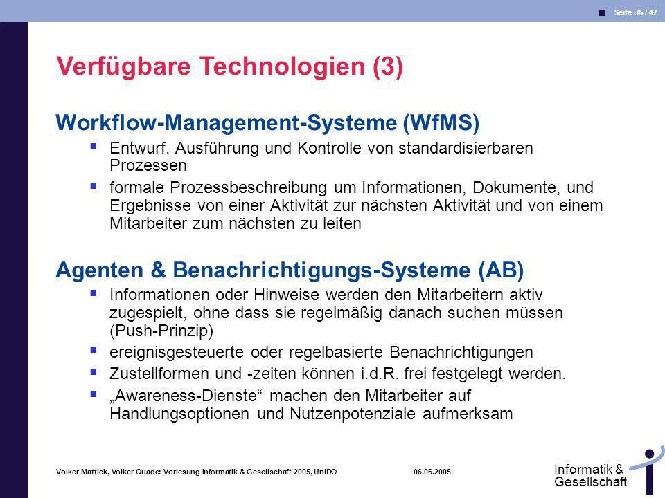 Verfügbare Technologien (3)