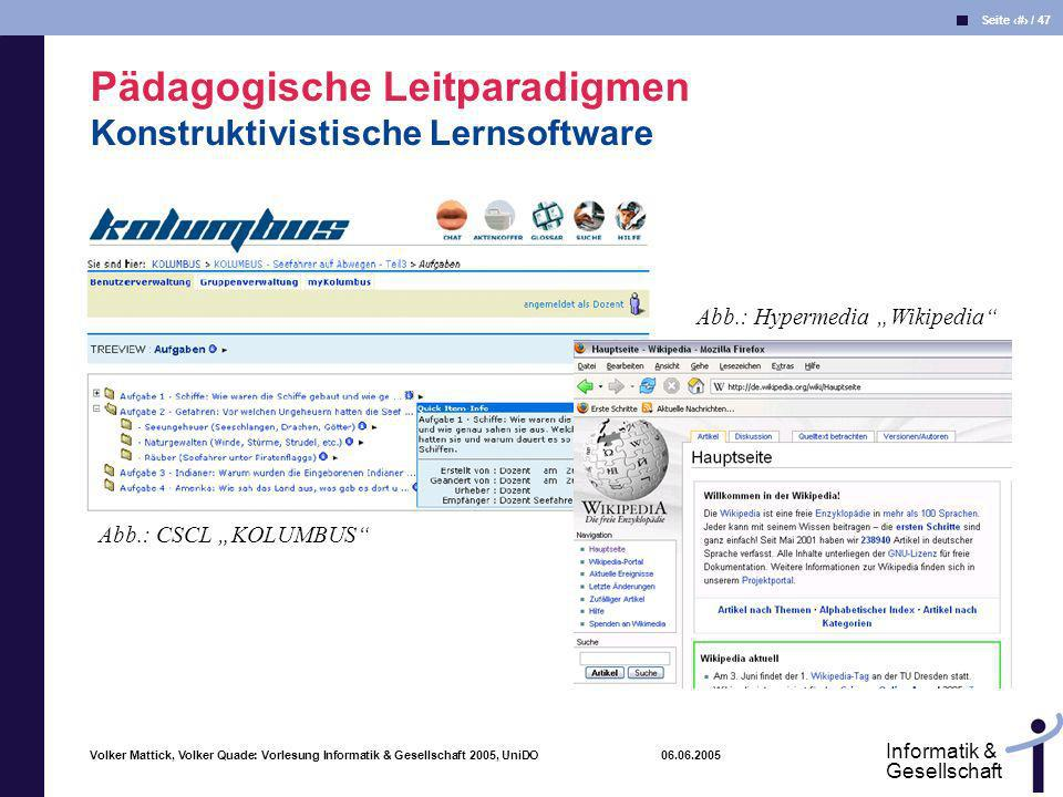Pädagogische Leitparadigmen Konstruktivistische Lernsoftware