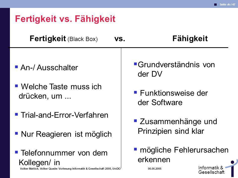 Fertigkeit (Black Box) vs. Fähigkeit