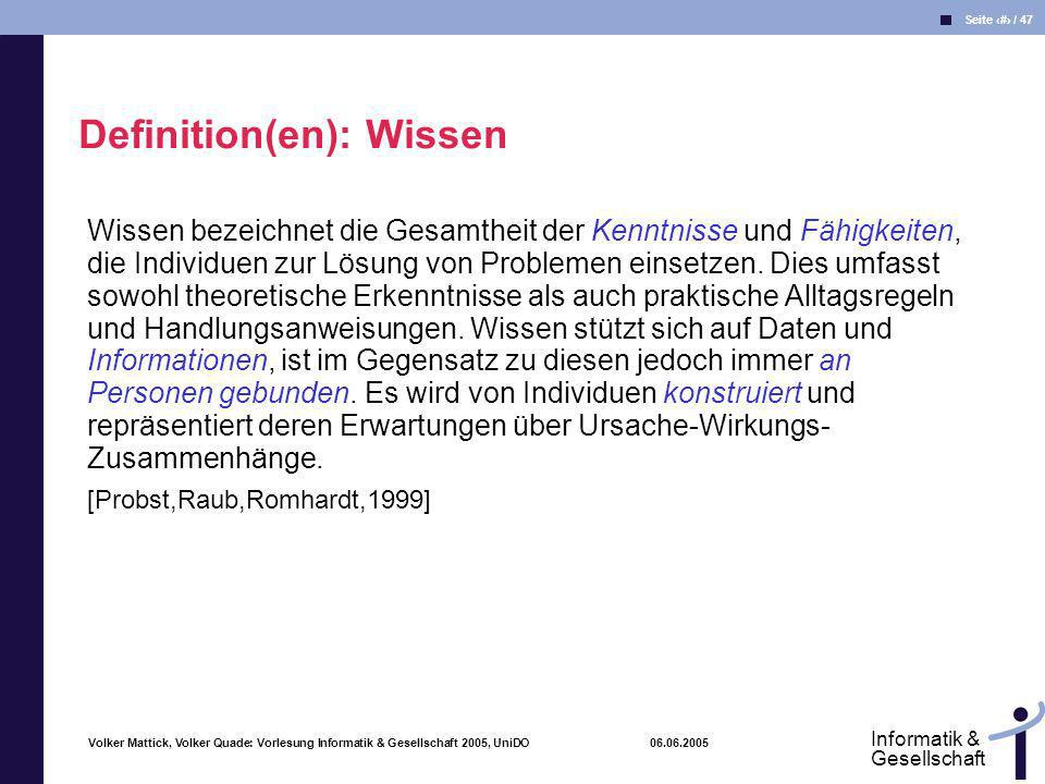 Definition(en): Wissen