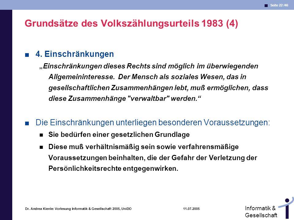 Grundsätze des Volkszählungsurteils 1983 (4)