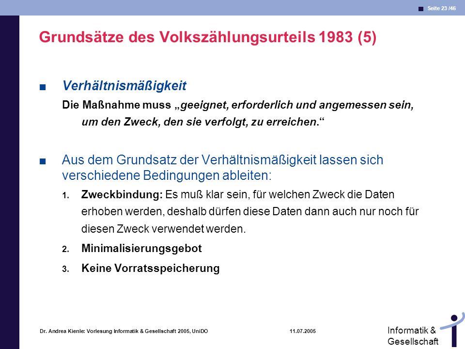 Grundsätze des Volkszählungsurteils 1983 (5)