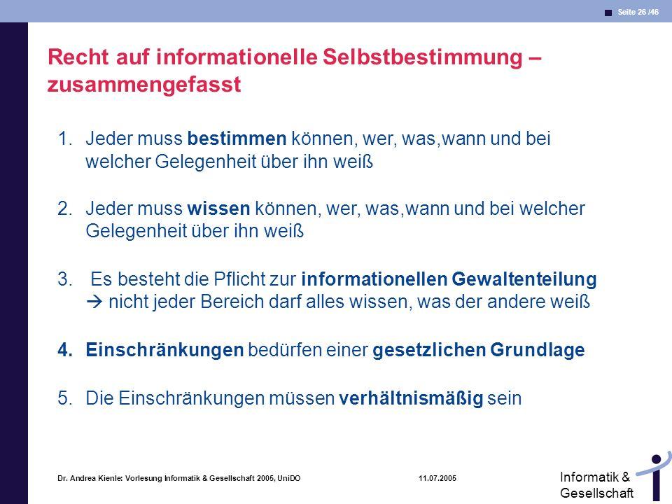 Recht auf informationelle Selbstbestimmung – zusammengefasst