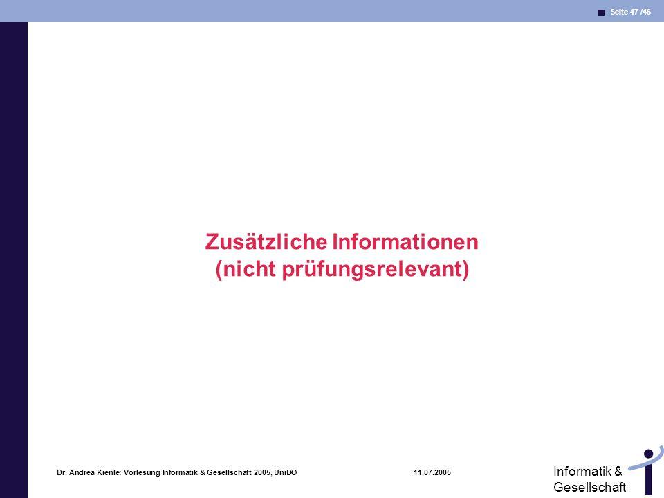 Zusätzliche Informationen (nicht prüfungsrelevant)