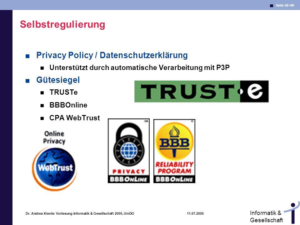 Selbstregulierung Privacy Policy / Datenschutzerklärung Gütesiegel
