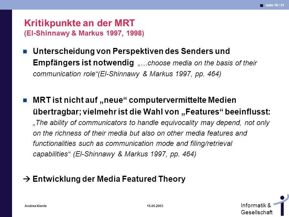 Kritikpunkte an der MRT (El-Shinnawy & Markus 1997, 1998)