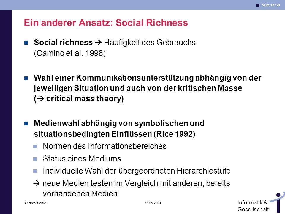 Ein anderer Ansatz: Social Richness