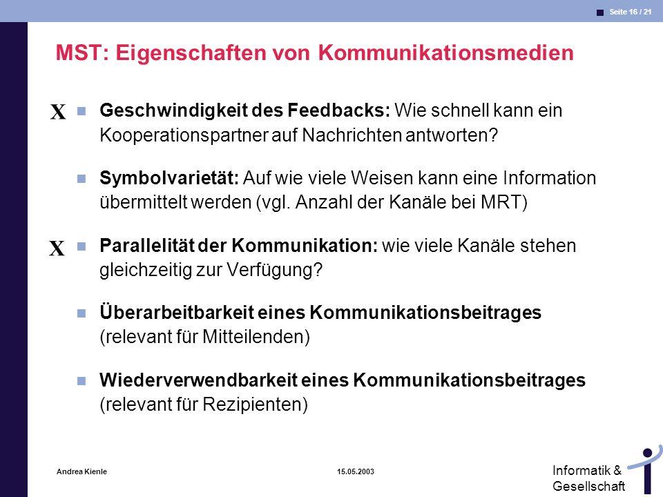 MST: Eigenschaften von Kommunikationsmedien