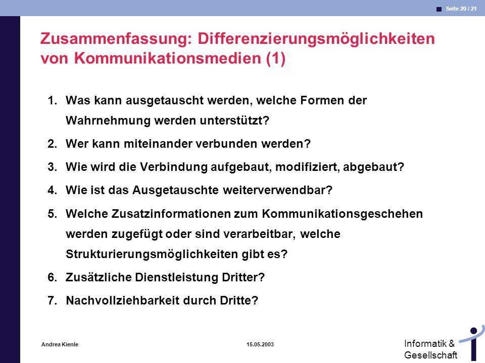 Zusammenfassung: Differenzierungsmöglichkeiten von Kommunikationsmedien (1)