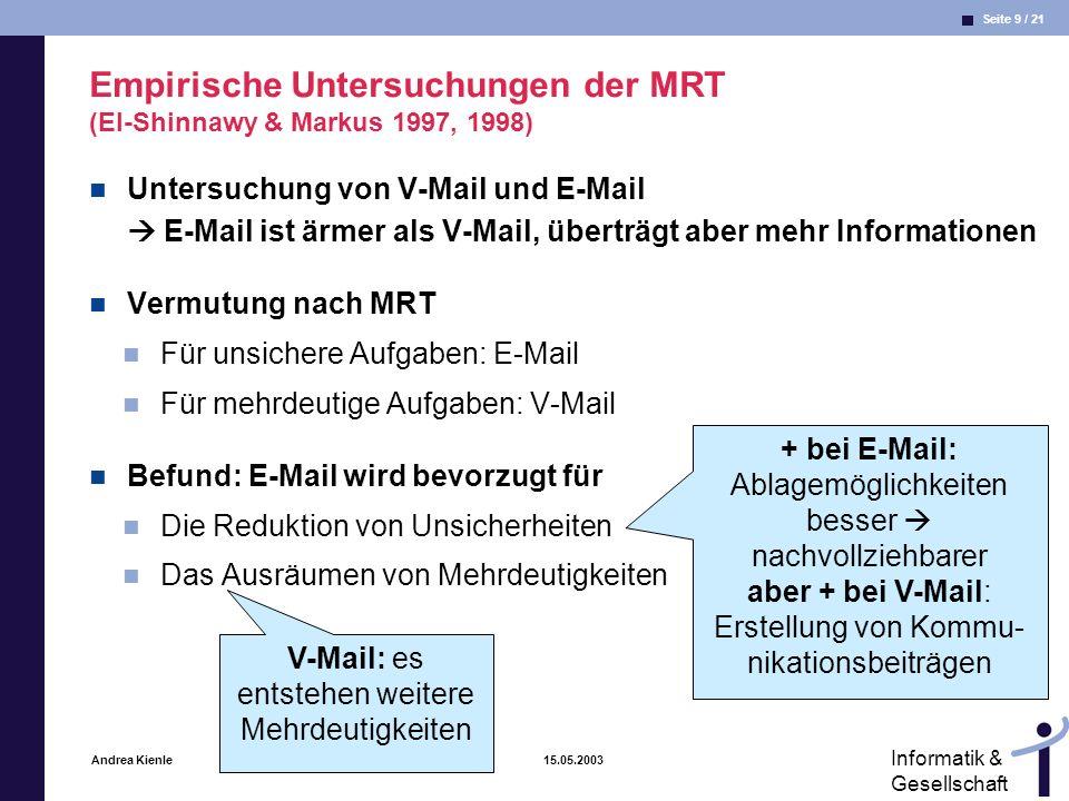 Empirische Untersuchungen der MRT (El-Shinnawy & Markus 1997, 1998)