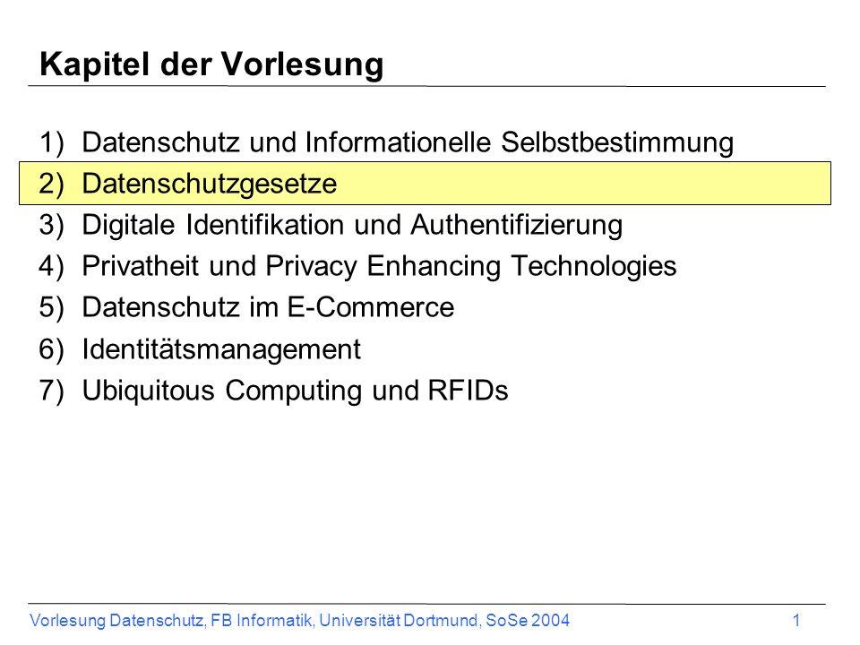 Kapitel der Vorlesung Datenschutz und Informationelle Selbstbestimmung