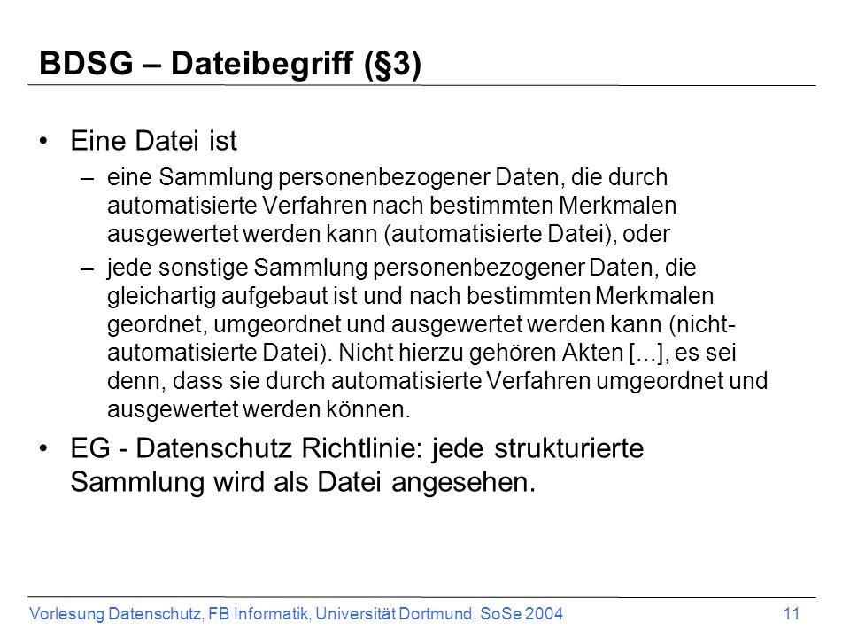 BDSG – Dateibegriff (§3)