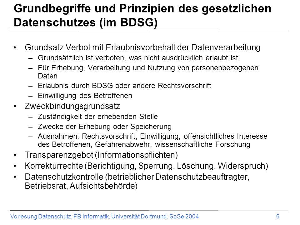 Grundbegriffe und Prinzipien des gesetzlichen Datenschutzes (im BDSG)
