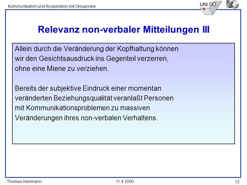 Relevanz non-verbaler Mitteilungen III
