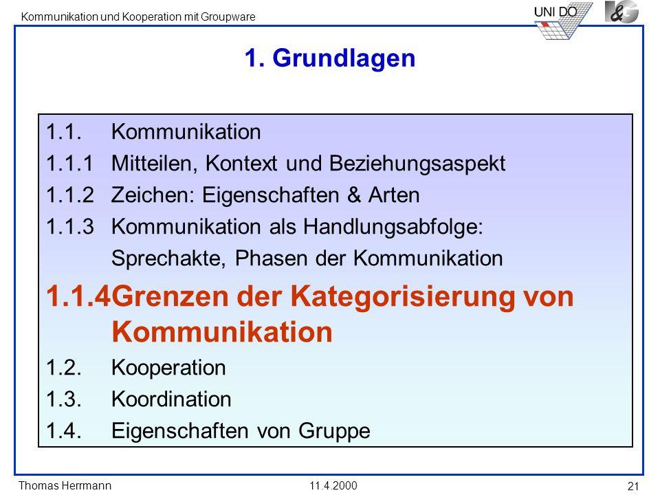 1.1.4 Grenzen der Kategorisierung von Kommunikation