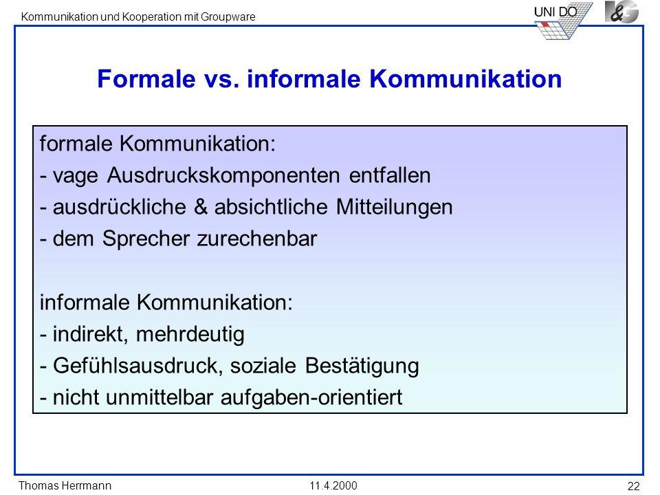 Formale vs. informale Kommunikation