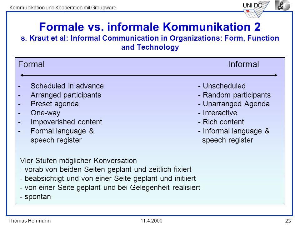 Formale vs. informale Kommunikation 2 s