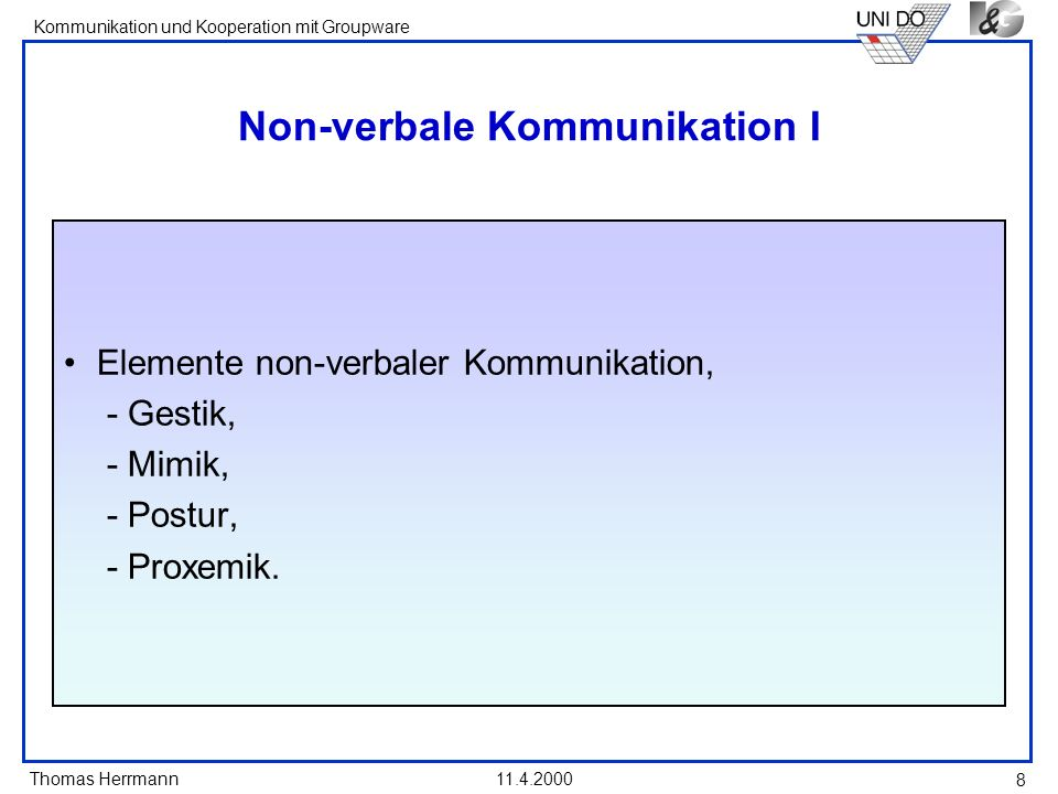 Non-verbale Kommunikation I