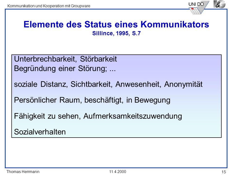 Elemente des Status eines Kommunikators Sillince, 1995, S.7