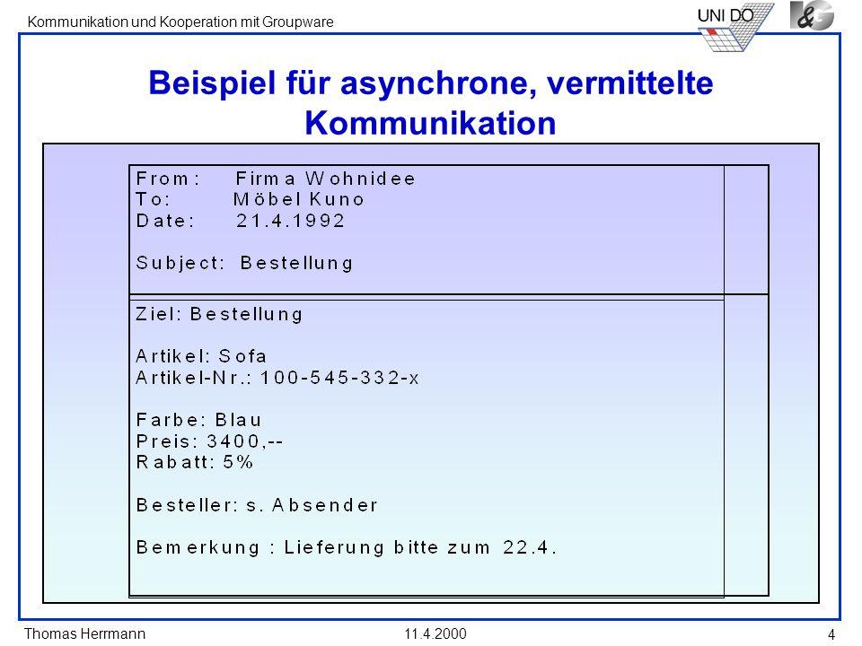 Beispiel für asynchrone, vermittelte Kommunikation