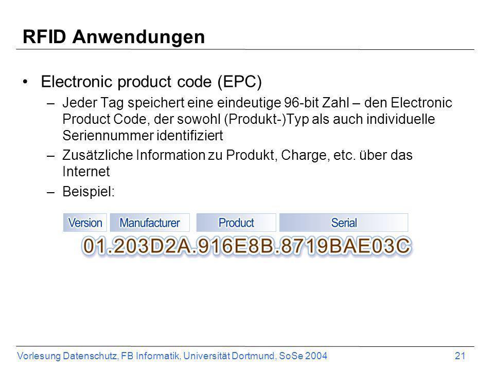 RFID Anwendungen Electronic product code (EPC)
