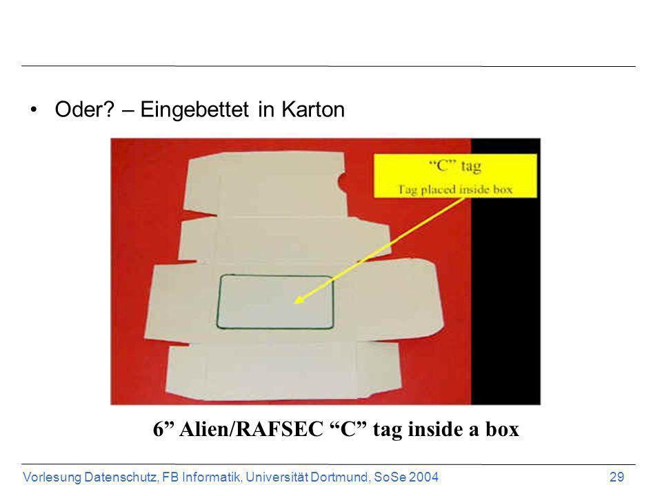 6 Alien/RAFSEC C tag inside a box