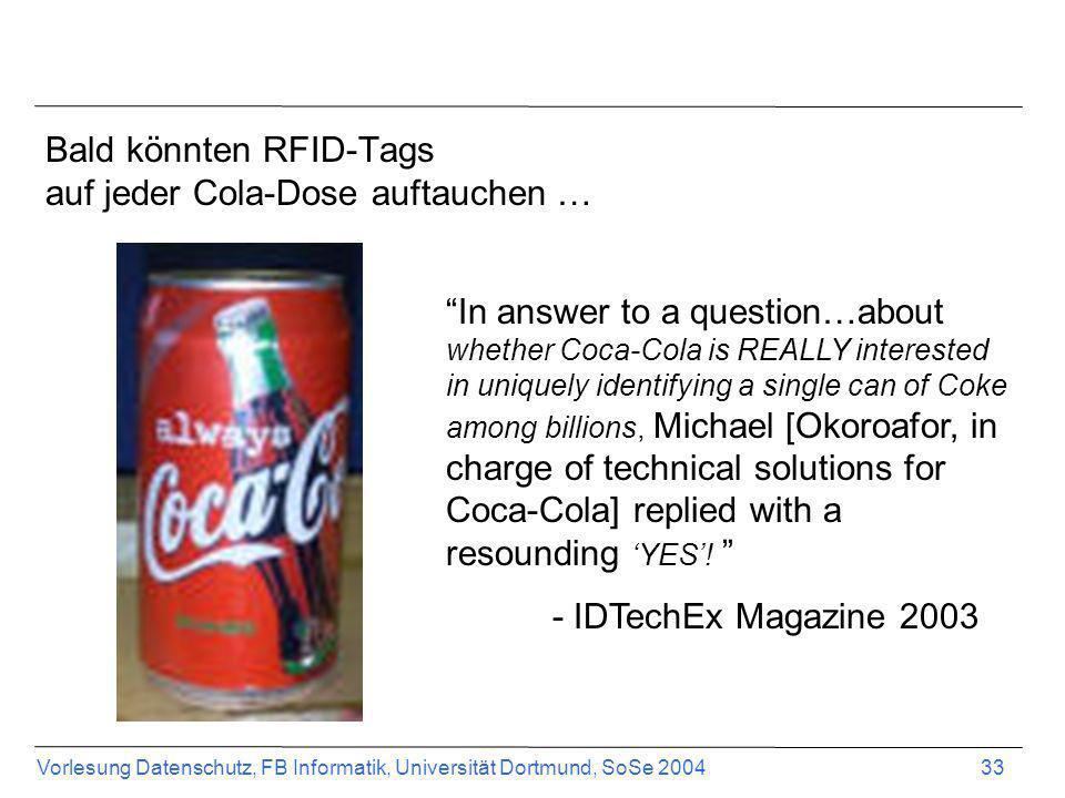 Bald könnten RFID-Tags auf jeder Cola-Dose auftauchen …