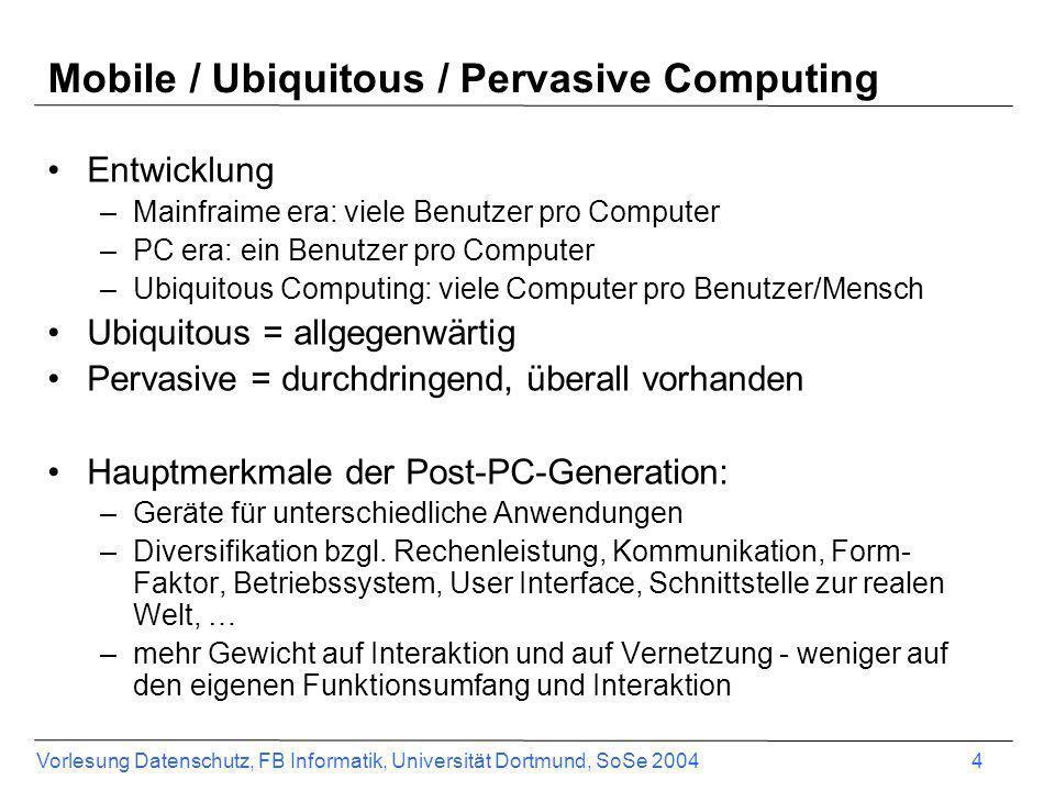Mobile / Ubiquitous / Pervasive Computing