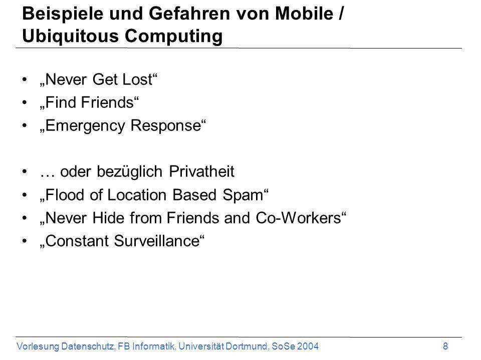 Beispiele und Gefahren von Mobile / Ubiquitous Computing