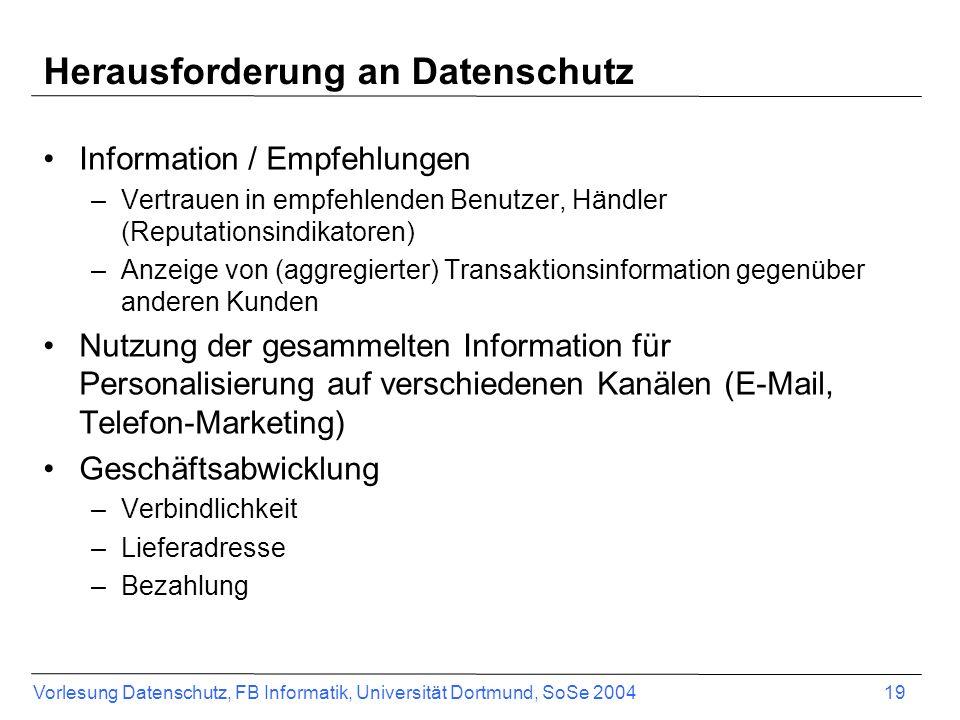 Herausforderung an Datenschutz