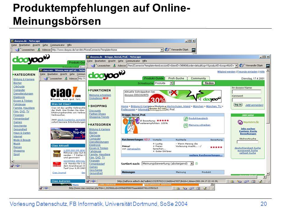 Produktempfehlungen auf Online-Meinungsbörsen