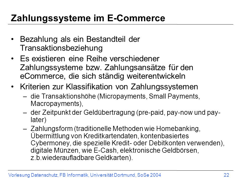 Zahlungssysteme im E-Commerce