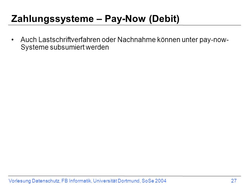 Zahlungssysteme – Pay-Now (Debit)