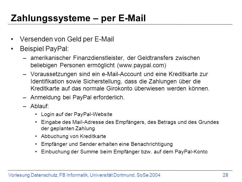 Zahlungssysteme – per E-Mail