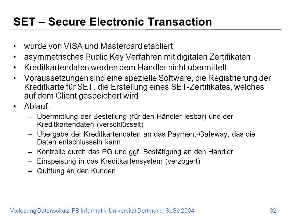 SET – Secure Electronic Transaction