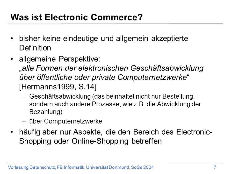 Was ist Electronic Commerce