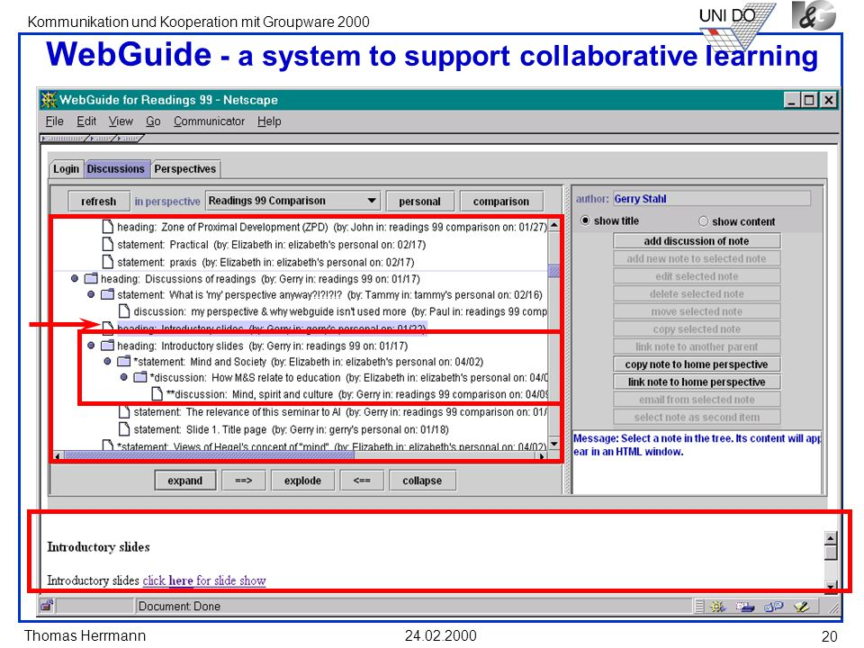 WebGuide - a system to support collaborative learning