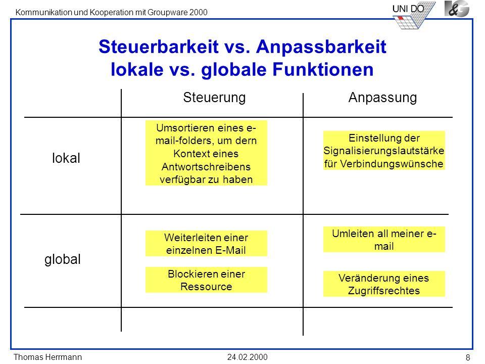 Steuerbarkeit vs. Anpassbarkeit lokale vs. globale Funktionen