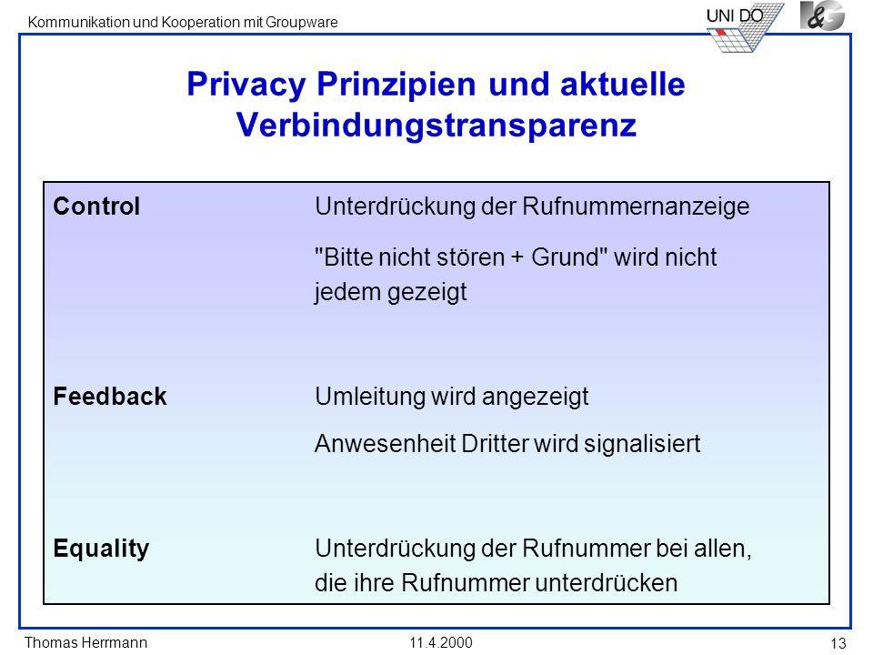 Privacy Prinzipien und aktuelle Verbindungstransparenz