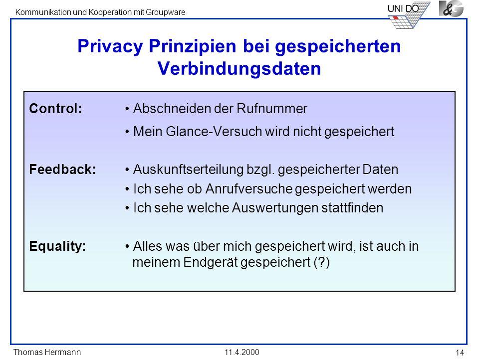 Privacy Prinzipien bei gespeicherten Verbindungsdaten