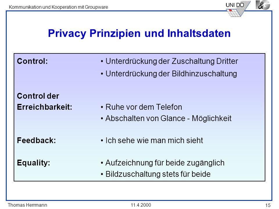 Privacy Prinzipien und Inhaltsdaten