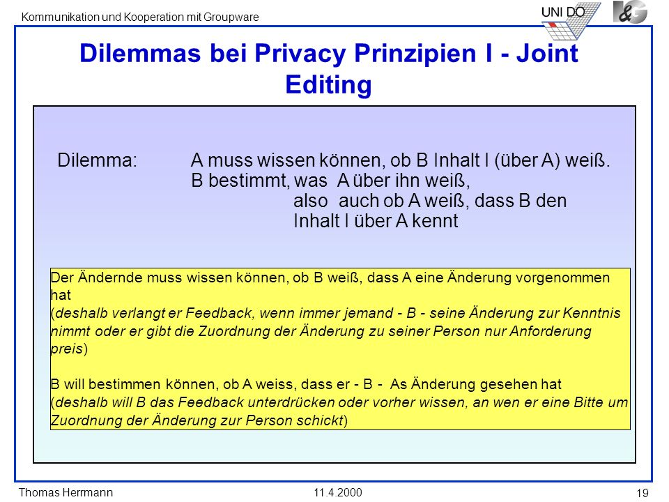 Dilemmas bei Privacy Prinzipien I - Joint Editing
