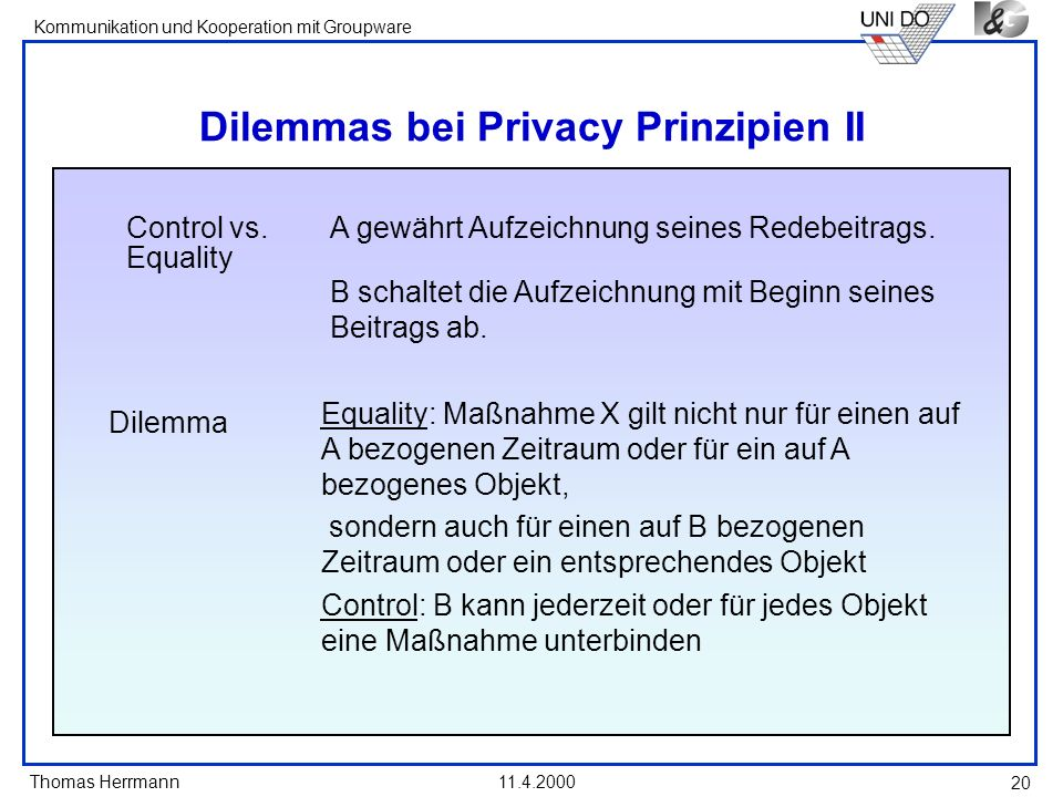Dilemmas bei Privacy Prinzipien II