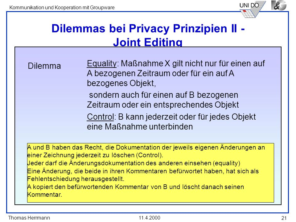 Dilemmas bei Privacy Prinzipien II - Joint Editing
