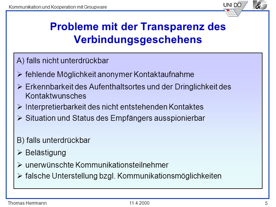 Probleme mit der Transparenz des Verbindungsgeschehens