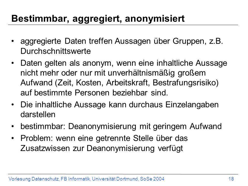 Bestimmbar, aggregiert, anonymisiert