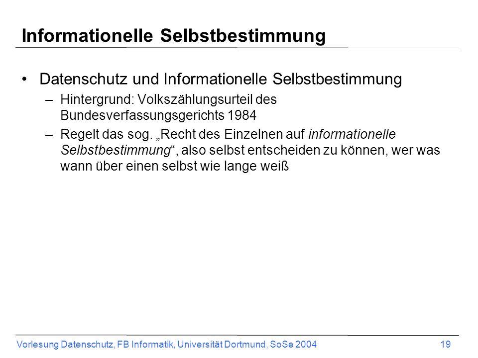 Informationelle Selbstbestimmung