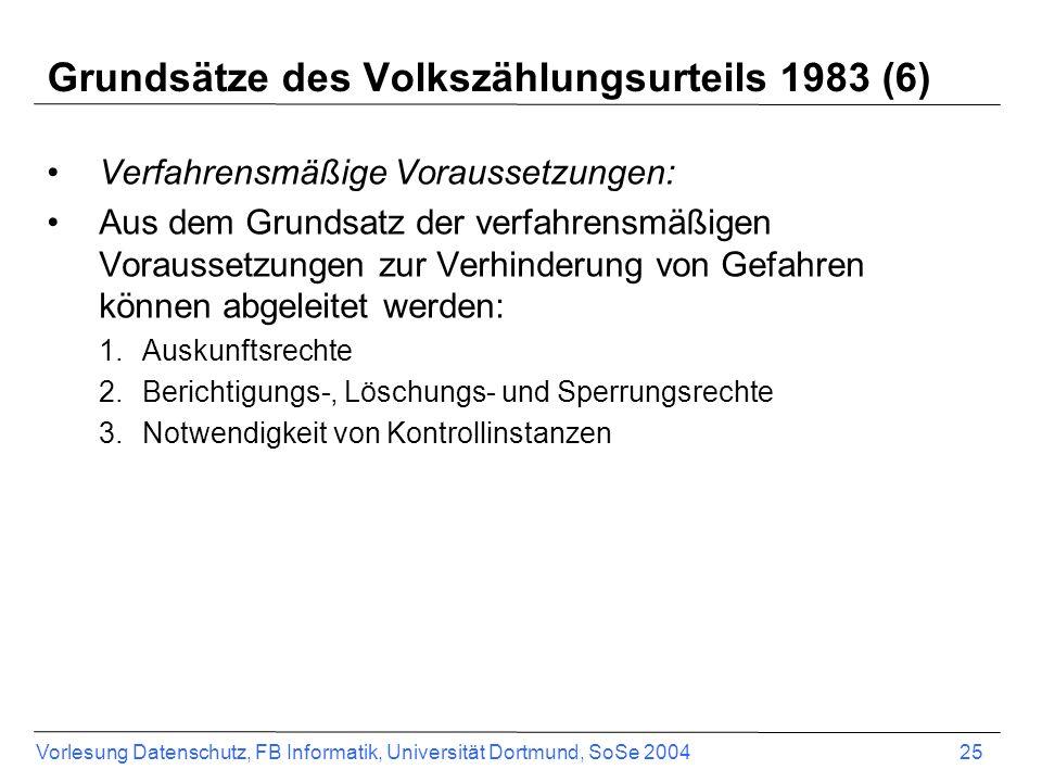 Grundsätze des Volkszählungsurteils 1983 (6)
